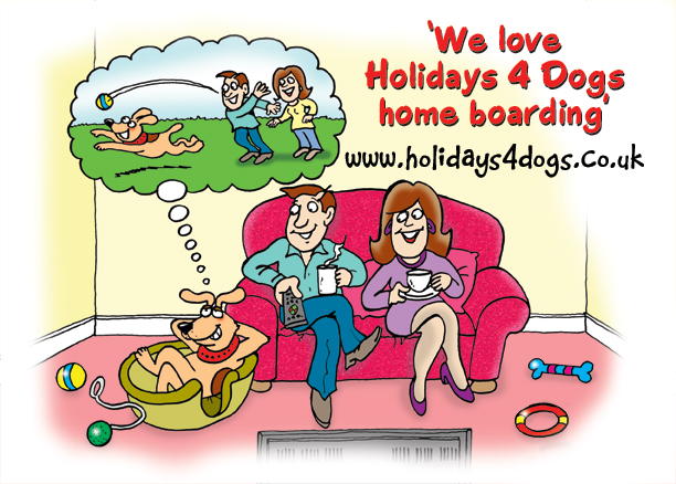 dog cartoons - cartoon of a husband and wife sat watching TV. There's a cartoon of a dog laid in comfort in his dog basket and dreaming of chasing a ball in a field that his owners have thrown for him